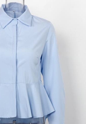 Peplum Collar Long Sleeve Shirt With Flare light blue / S - Go Steampunk