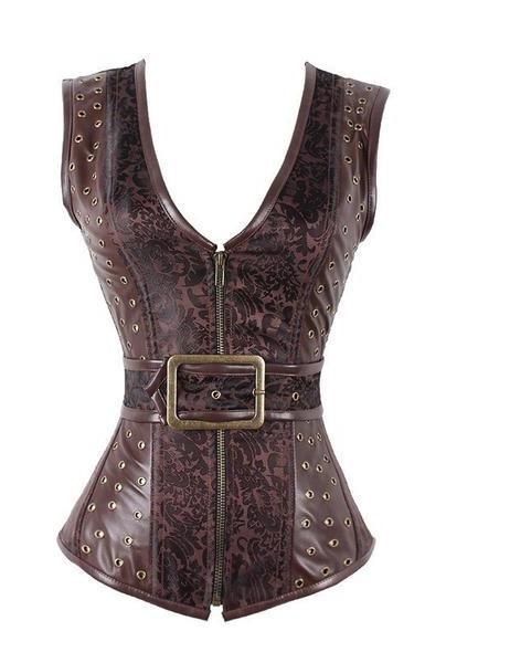 Jacquard and Vegan leather Steel Boned Big Buckle Steampunk Corset - Go Steampunk