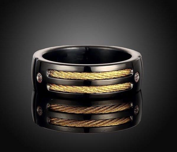 Black Steel Gold-color Cable Ring - Go Steampunk