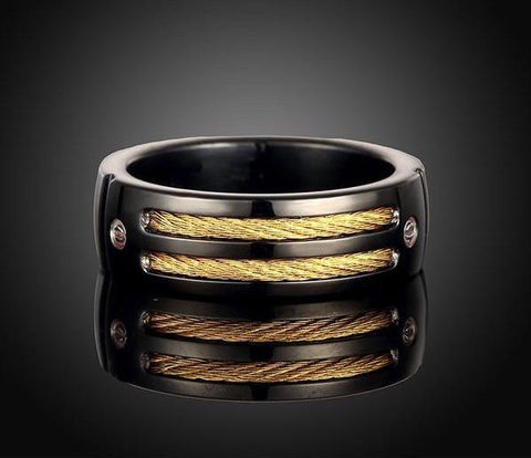 Black Steel Gold-color Cable Ring