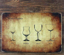 Vintage wine glasses tin sign
