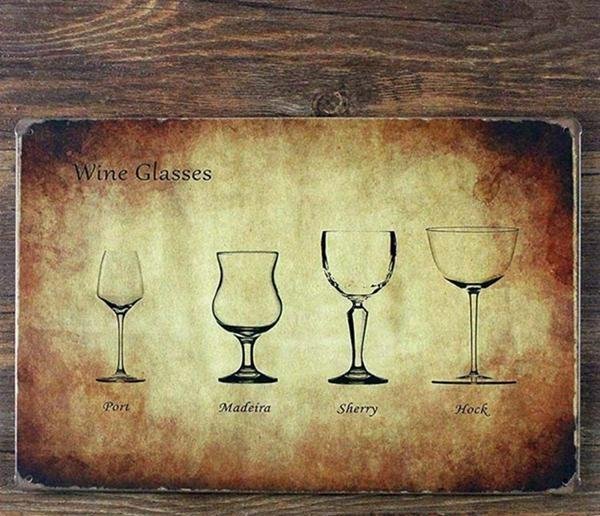 Vintage wine glasses tin sign - Go Steampunk