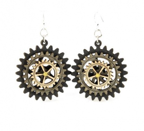 Moving Kinetic Gear Earrings 5004E - Go Steampunk