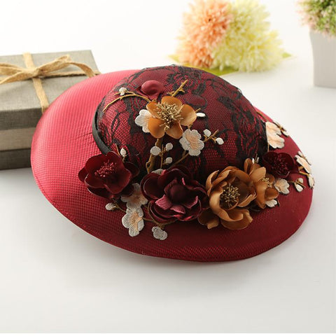 Gorgeous flowers and elegant lace vintage hat for ladies