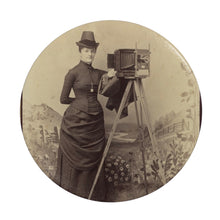 Load image into Gallery viewer, Victorian Lady Photographer Phone Stand Blue / Round - Go Steampunk
