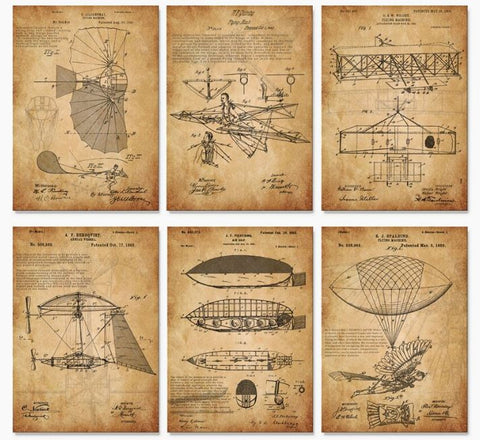 Vintage Flying Machine 1900's Patent Drawing Art Prints 11X14 / parchment orange - Go Steampunk