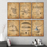 Vintage Flying Machine 1900's Patent Drawing Art Prints - Go Steampunk
