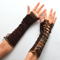 Steampunk Lace-up Armband Gloves - Go Steampunk