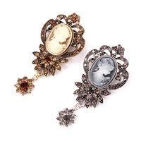 Vintage Crystal and Cameo Brooch - Go Steampunk