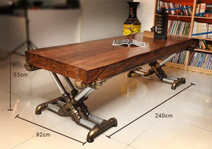 Retro Industrial Steampunk Wood and Wrought Iron Table - Go Steampunk