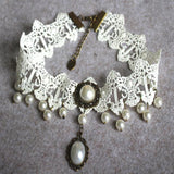 Handmade Vintage Lace and Pearl Choker