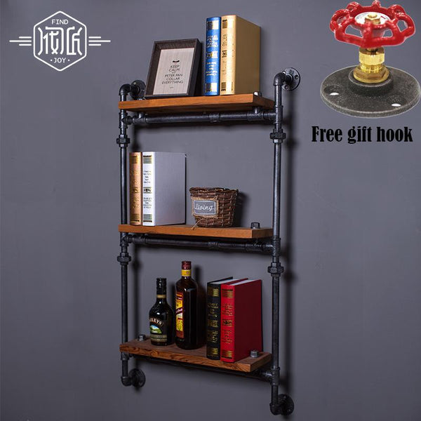 Steampunk Vintage Wrought Iron and Wood Wall Mount Shelf