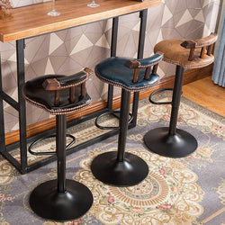 Retro Swivel Bar Stool With Backrest