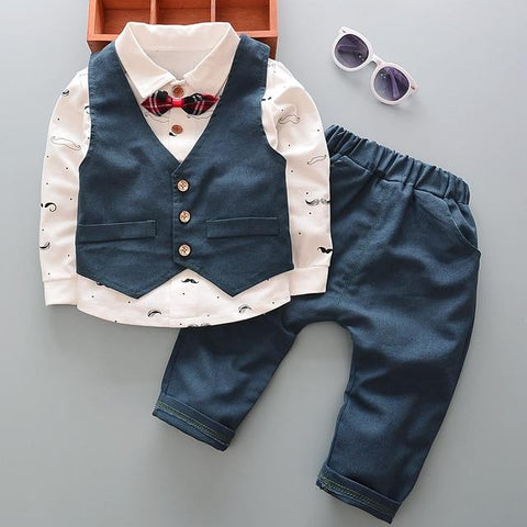 Little Gentleman Baby Suit Set Blue / 9M - Go Steampunk