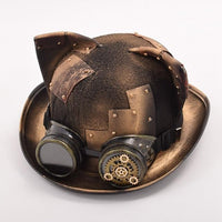Cat Ear Steampunk Patch Bowler Hat - Go Steampunk
