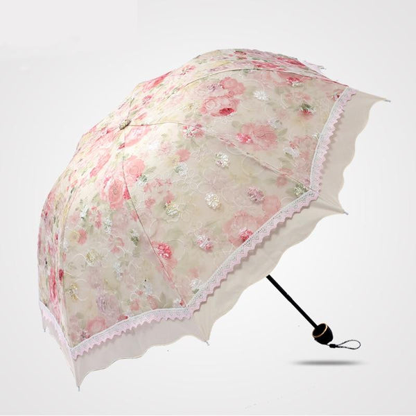 4 Color Floral Embroidered Parasol - Go Steampunk