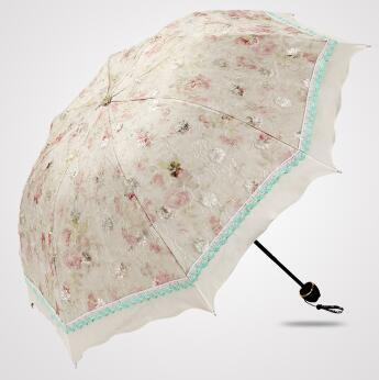 4 Color Floral Embroidered Parasol Green - Go Steampunk