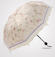 4 Color Floral Embroidered Parasol Purple - Go Steampunk