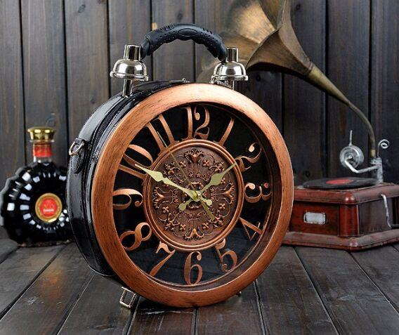 Round Vintage Working Clock Handbag black - Go Steampunk