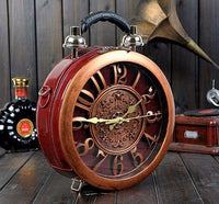 Round Vintage Working Clock Handbag wine red - Go Steampunk