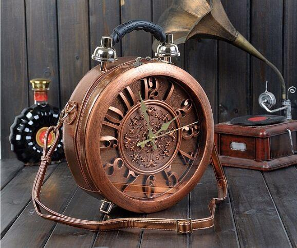 Round Vintage Working Clock Handbag
