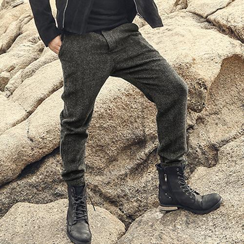 Wool slim fit trousers