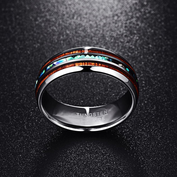 Abalone Tungsten Carbide Ring