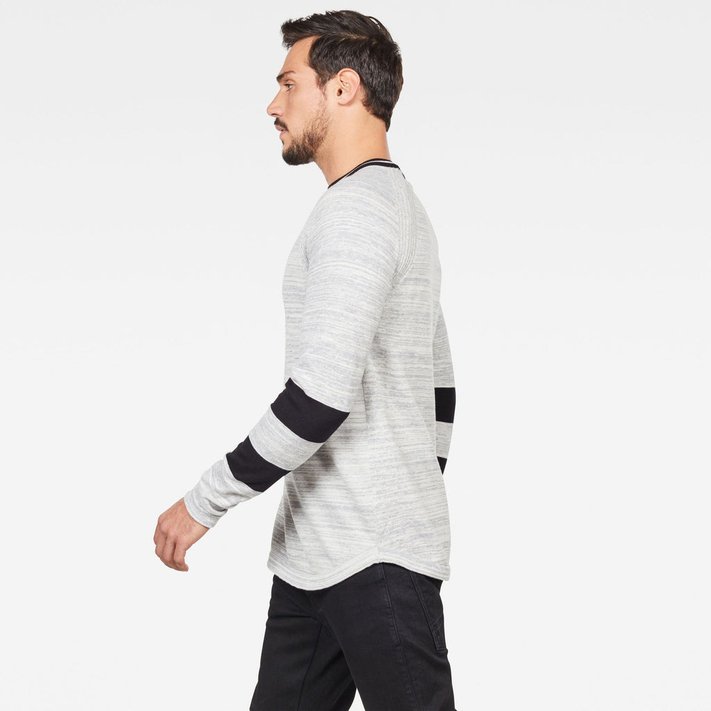 G-Star Raw Men's Long Sleeve Core Knitted Sweater Straight Milk/Grey Heather sustainable materials