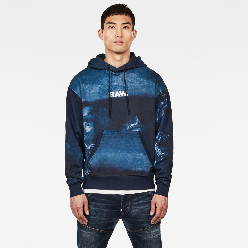 G-Star Men's Special Edition Graphic 16 hoodie blue