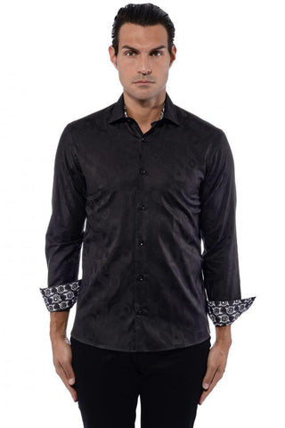 Maceoo Men's Dress Shirt Skullneon Black long Sleeve French Cuff Fashion