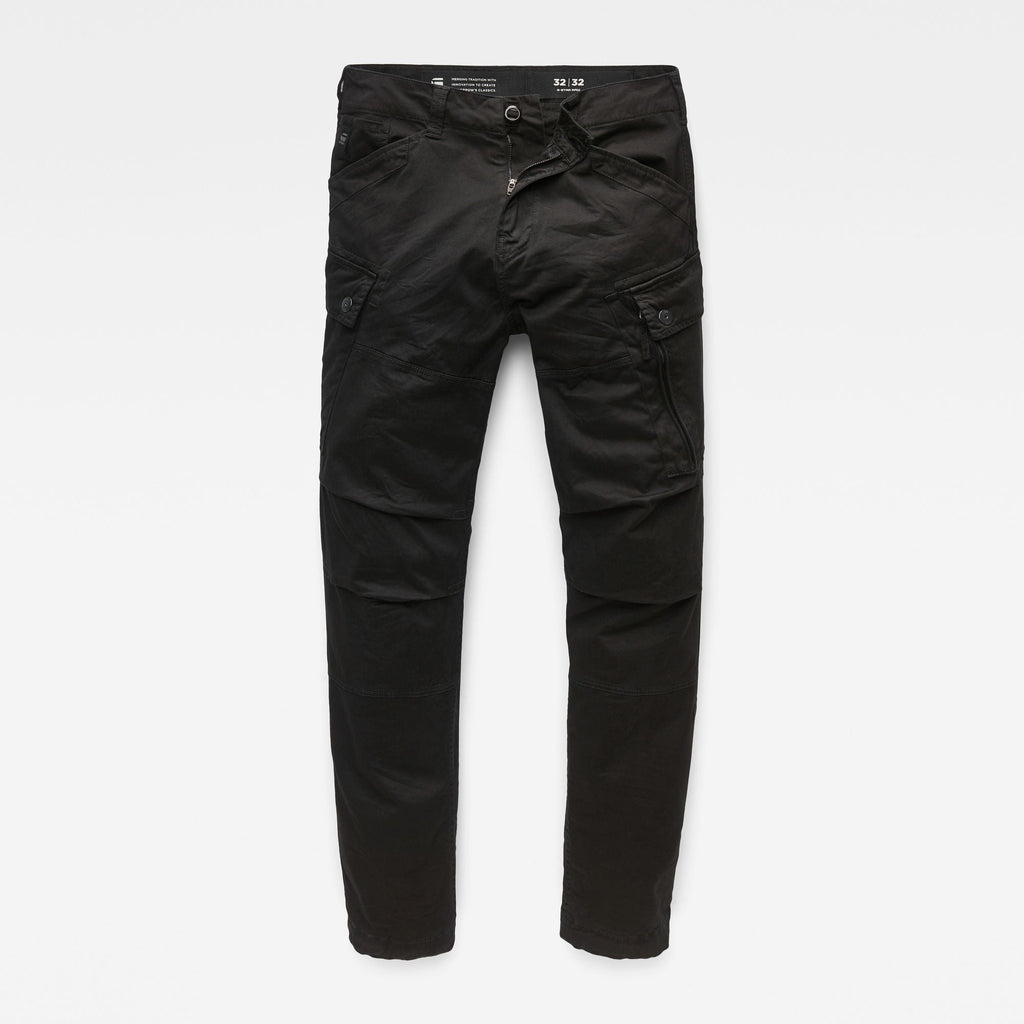 Men's Cargo Pants Straight Tapered Dark Black Roxic
