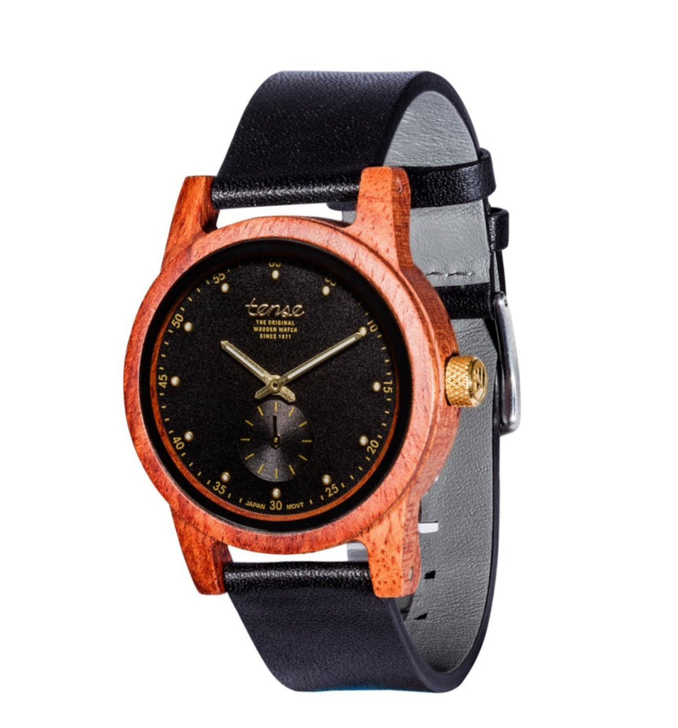 Tense HAMPTON NORTH Rosewood/Black Unisex Wooden Watch