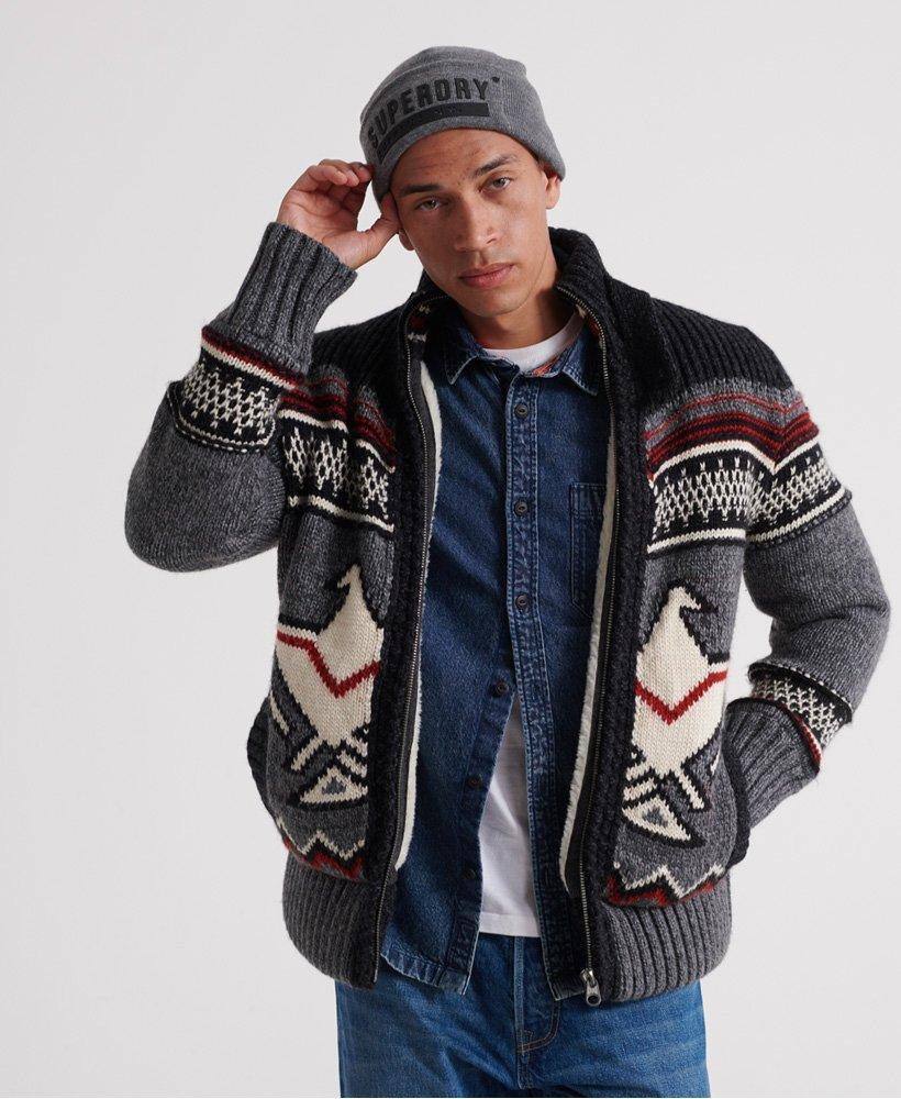 Superdry men's cardigan sweater icon brynner graphite grey