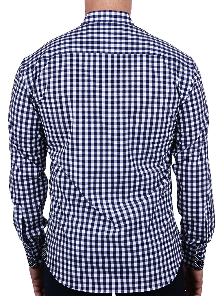 Maceoo Men's Dress Shirts Einstein Large Check Stretch Blue