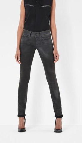 G-Star Woman's MIDGE Zip Mid Skinny Denim Medium Aged Superstretch Jeans