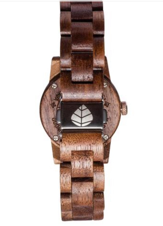 Tense Hand-Made small Hamptons Ladies Watch Walnut Mother Of Pearl
