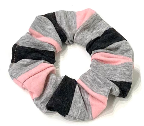 Black pink and grey stripe scrunchie
