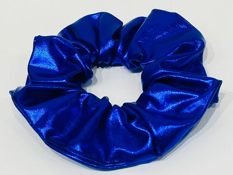 Metallic blue faux leather scrunchie