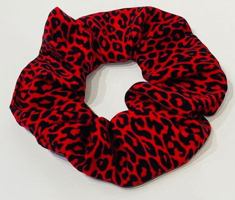 Red Cheetah Print Scrunchie