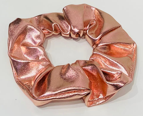 Metallic Pink faux leather scrunchie
