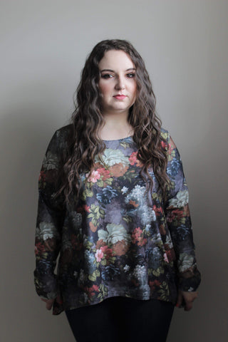Grey Floral Long Sleeve Shirt