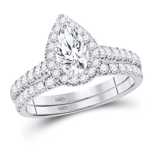 1.5CTW Halo Style Diamond Ring and Band Set  117881