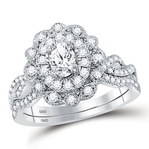 1Ctw Vintage Style Diamond Ring and Band Set