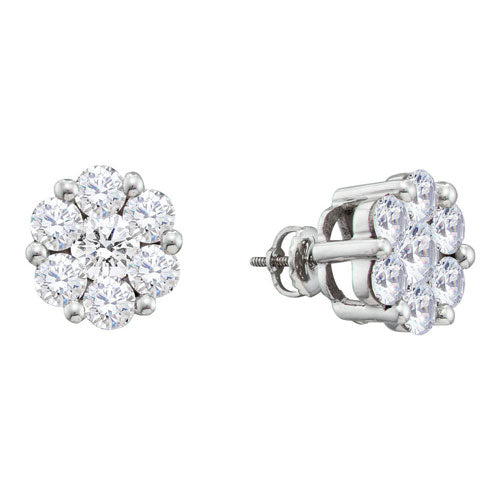 Mystery Illusion Set Diamond Cluster Earrings