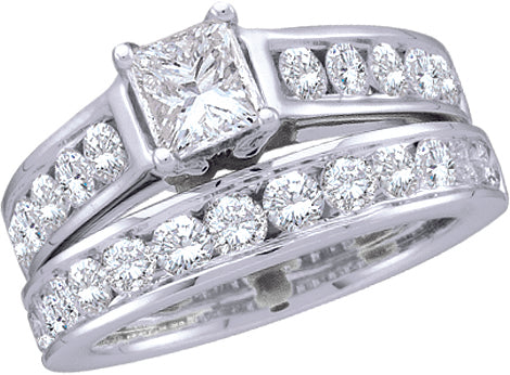1CTW Princess Cut Diamond Ring and Band Set  18505Y