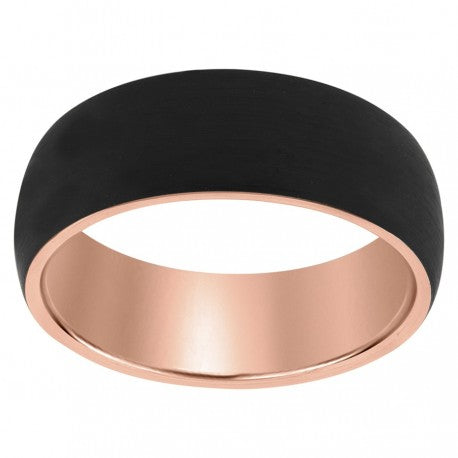 Gold Plated Black Tungsten Domed Matte Finish Band