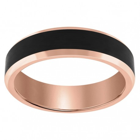 Rose Gold Plated Black Tungsten Bevelled Polished Edge Center Matte Finish Band