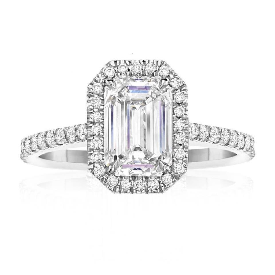 Signature Collection Emerald Cut Custom made Halo Engagement Ring