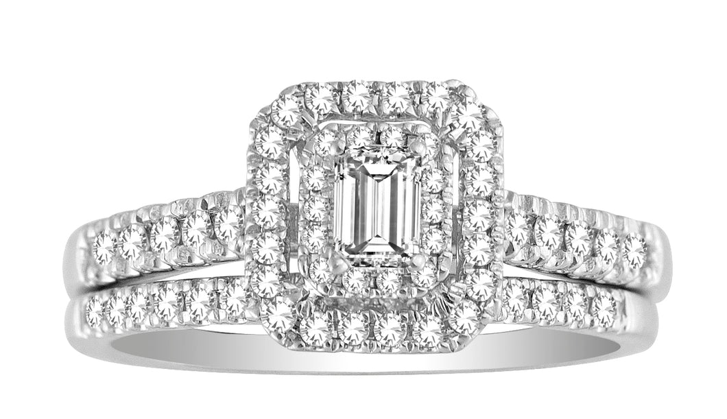 Emerald Cut Diamond Engagement Ring Set #53161