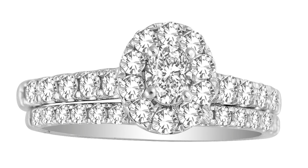 1Ctw Oval Cut Diamond Engagement Ring Set #53208